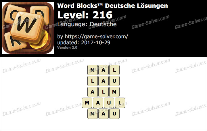 Word Blocks Level 216 Lösungen