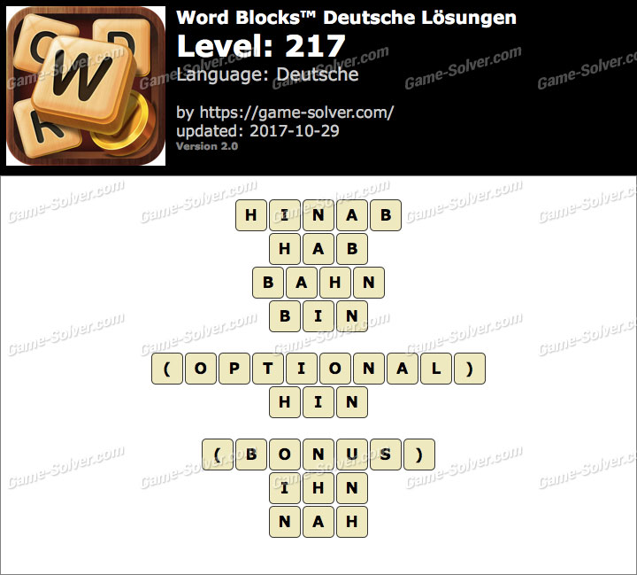 Word Blocks Level 217 Lösungen