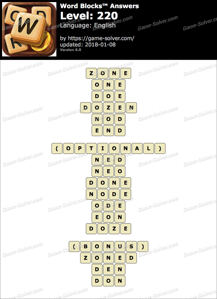 Word Blocks Level 220 Answers