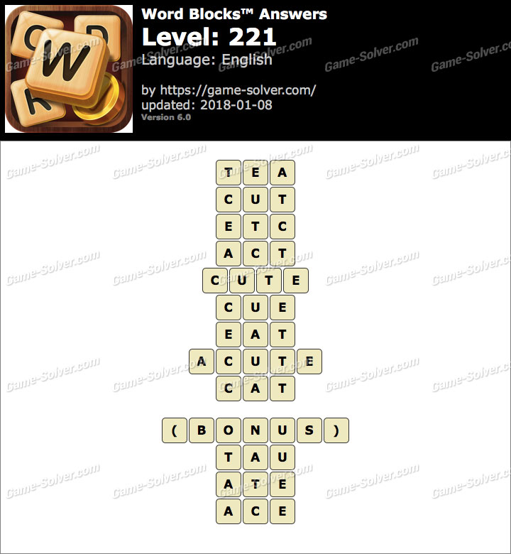 Word Blocks Level 221 Answers