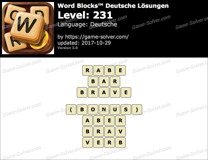 Word Blocks Level 231 Lösungen