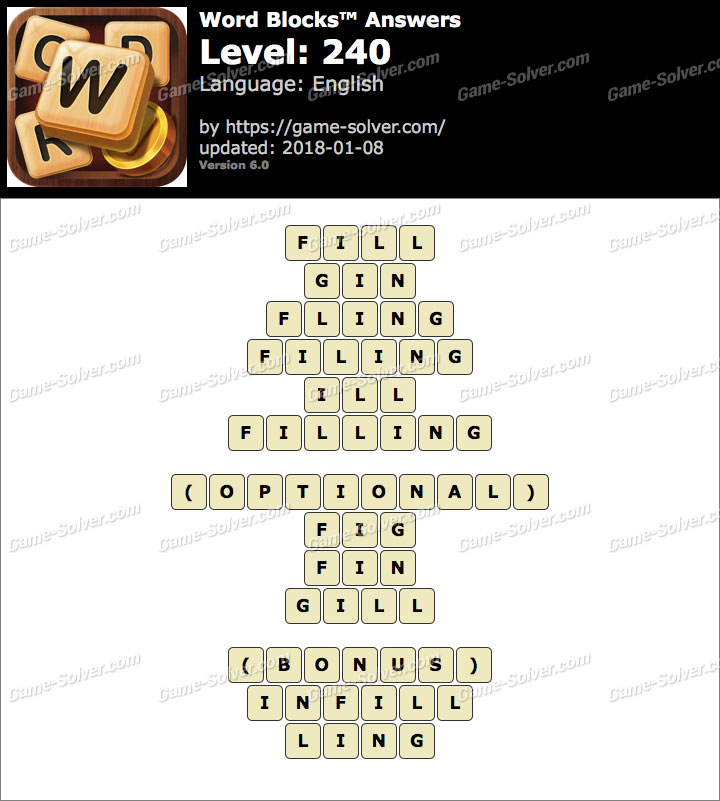 Word Blocks Level 240 Answers