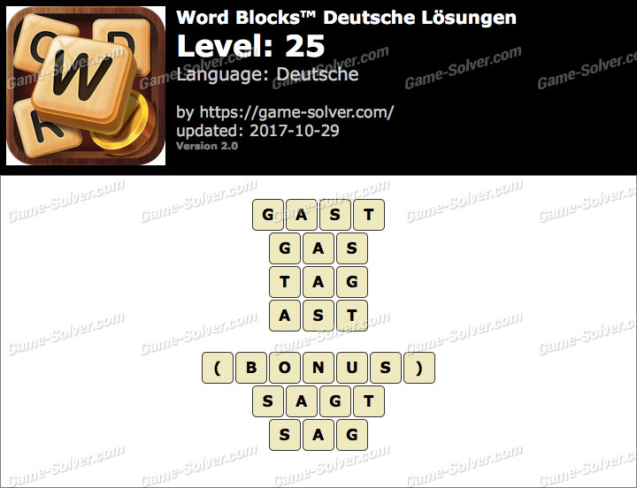 Word Blocks Level 25 Lösungen