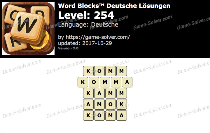 Word Blocks Level 254 Lösungen