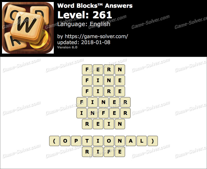 Word Blocks Level 261 Answers