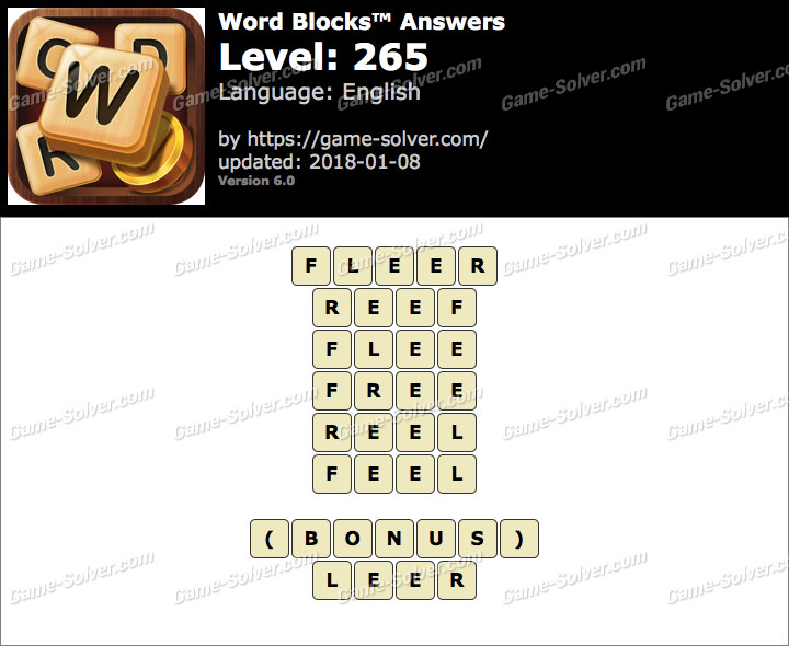 Word Blocks Level 265 Answers