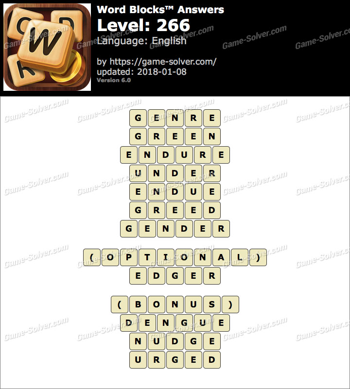 Word Blocks Level 266 Answers