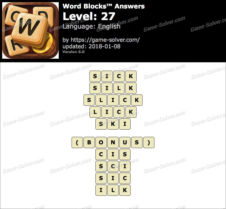 Word Blocks Level 27 Answers