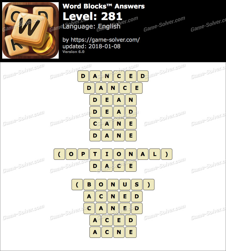 Word Blocks Level 281 Answers