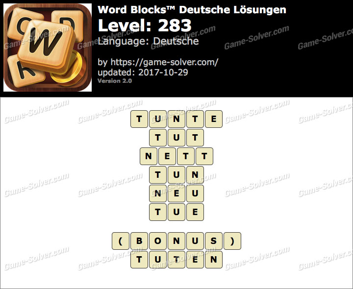 Word Blocks Level 283 Lösungen