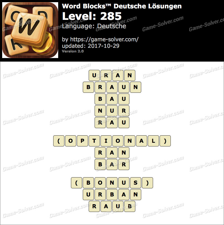 Word Blocks Level 285 Lösungen