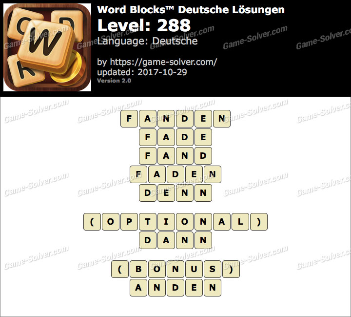 Word Blocks Level 288 Lösungen