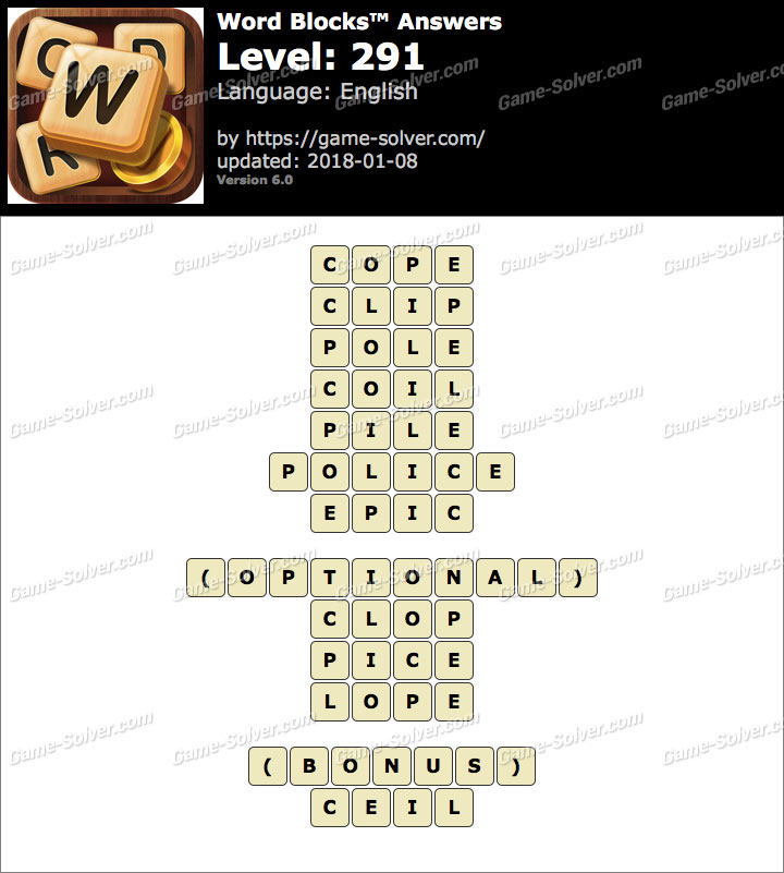 Word Blocks Level 291 Answers