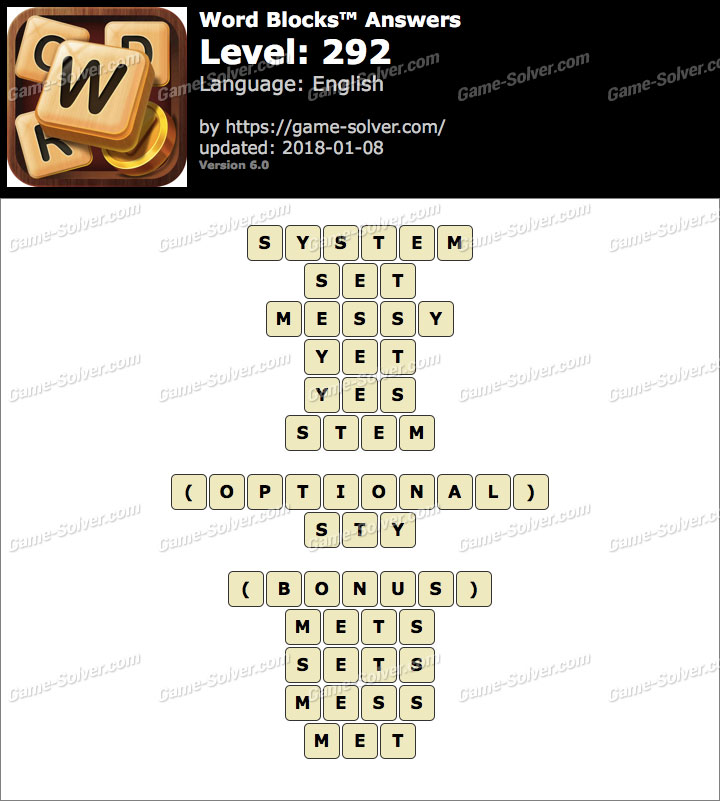 Word Blocks Level 292 Answers