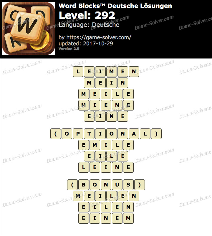 Word Blocks Level 292 Lösungen