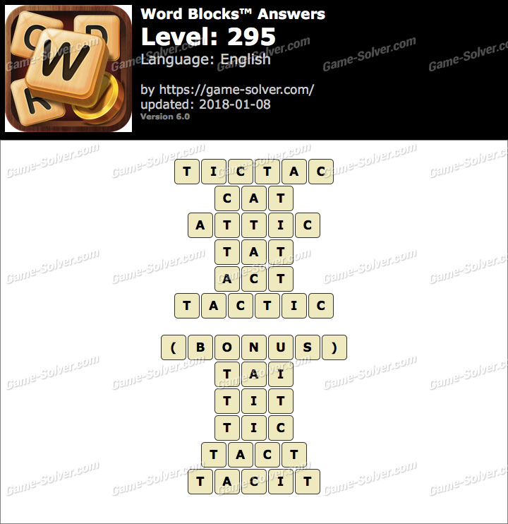 Word Blocks Level 295 Answers