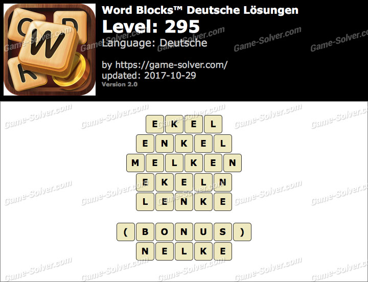 Word Blocks Level 295 Lösungen
