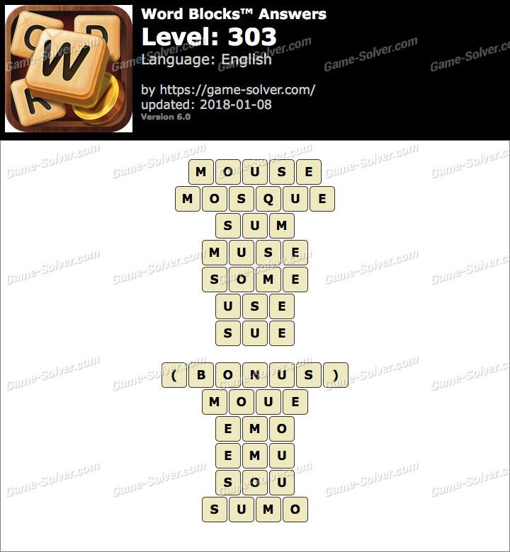 Word Blocks Level 303 Answers