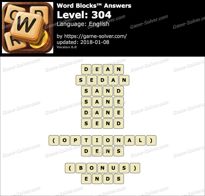 Word Blocks Level 304 Answers