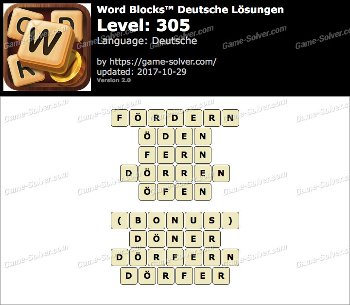 Word Blocks Level 305 Lösungen