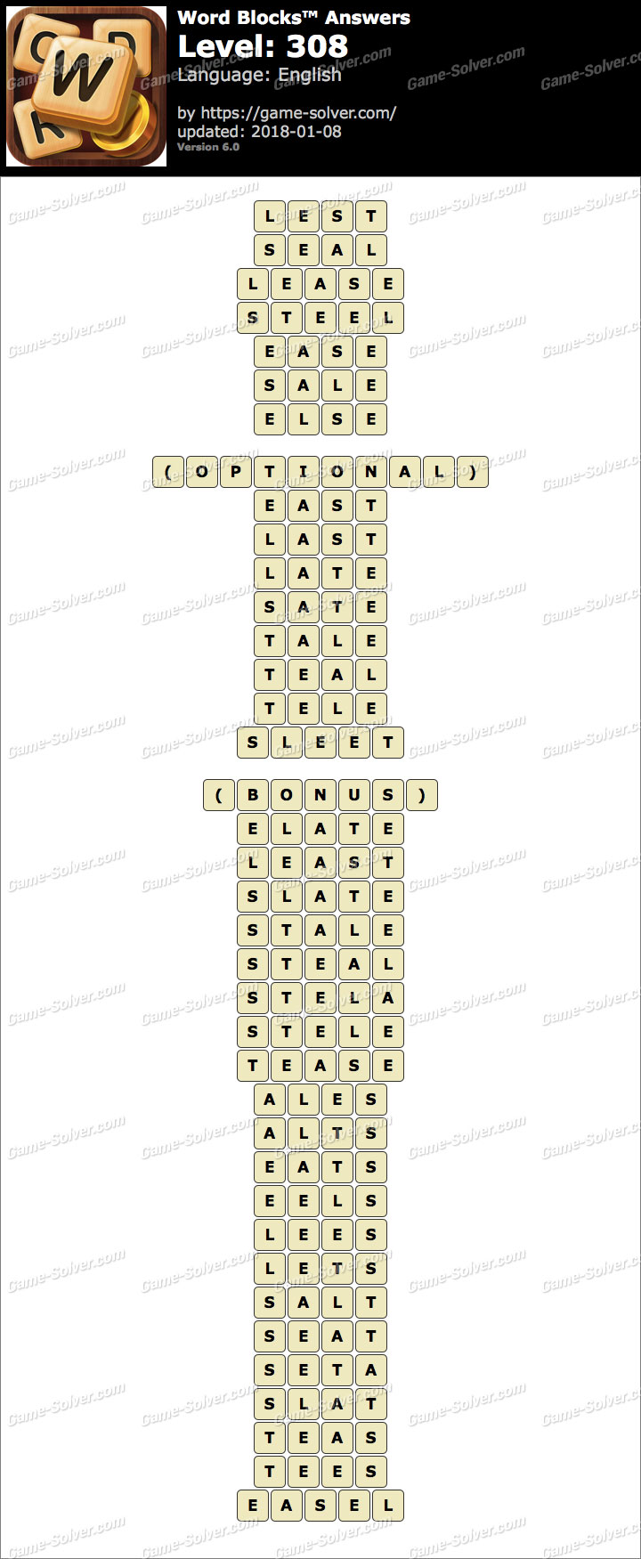 Word Blocks Level 308 Answers