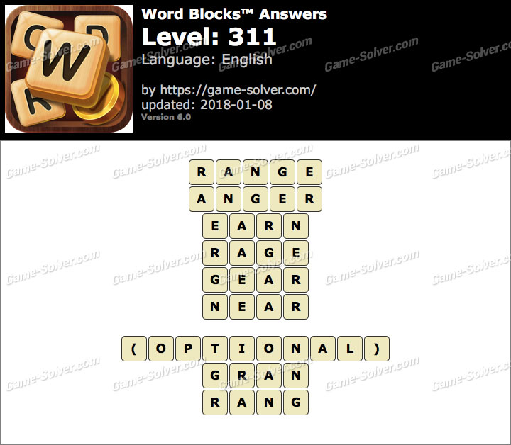 Word Blocks Level 311 Answers