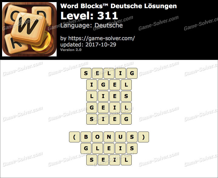 Word Blocks Level 311 Lösungen