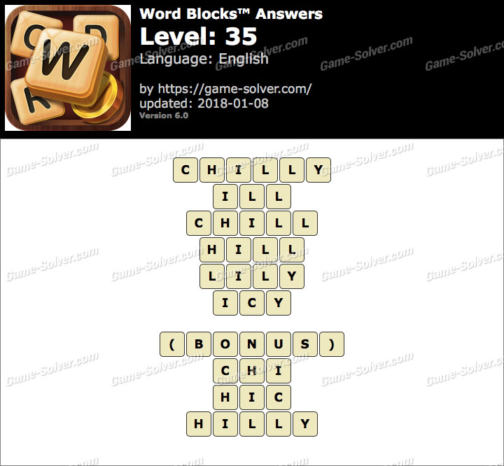 Word Blocks Level 35 Answers