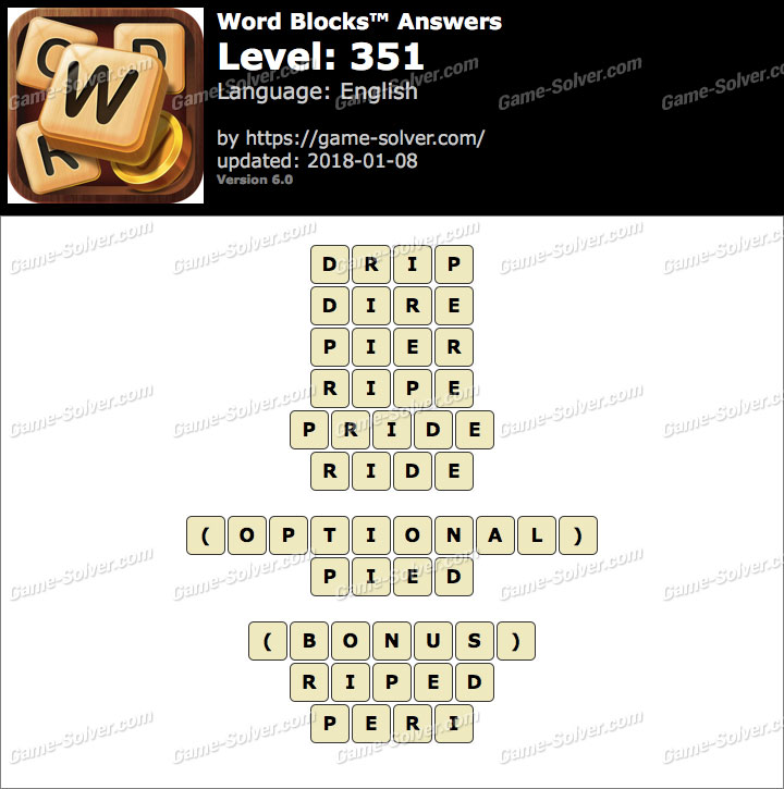 Word Blocks Level 351 Answers