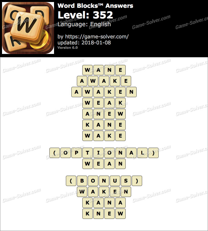 Word Blocks Level 352 Answers