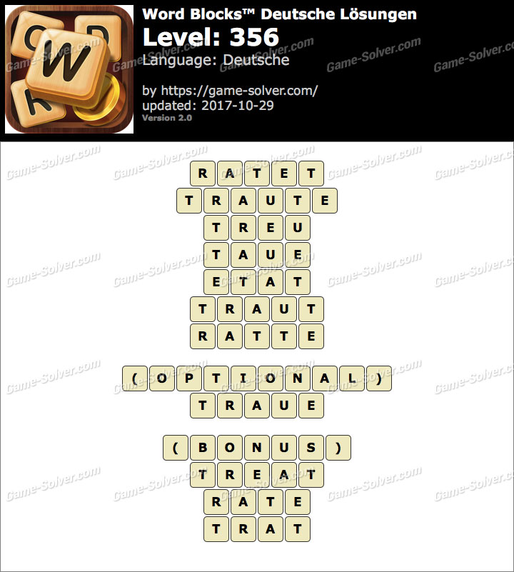 Word Blocks Level 356 Lösungen