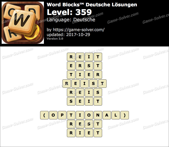 Word Blocks Level 359 Lösungen