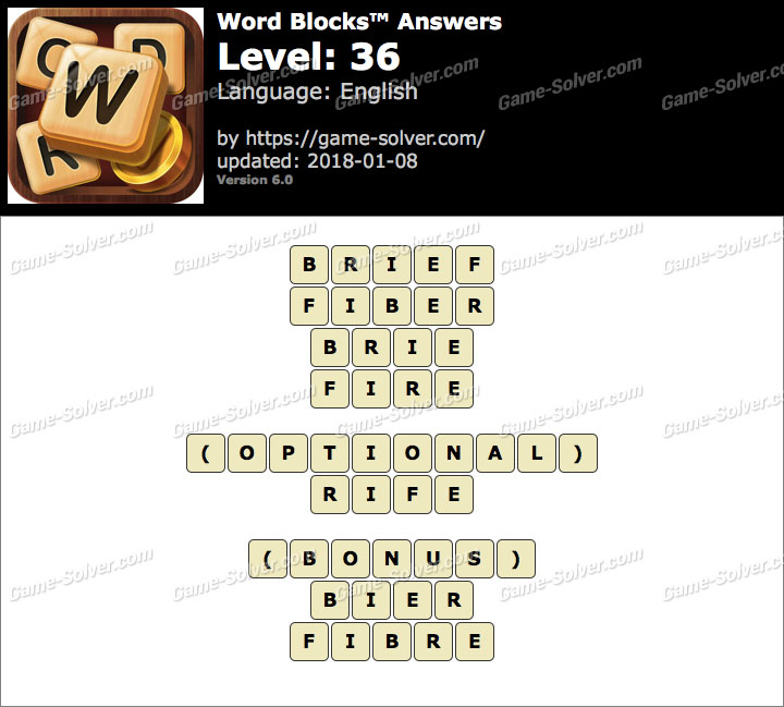 Word Blocks Level 36 Answers
