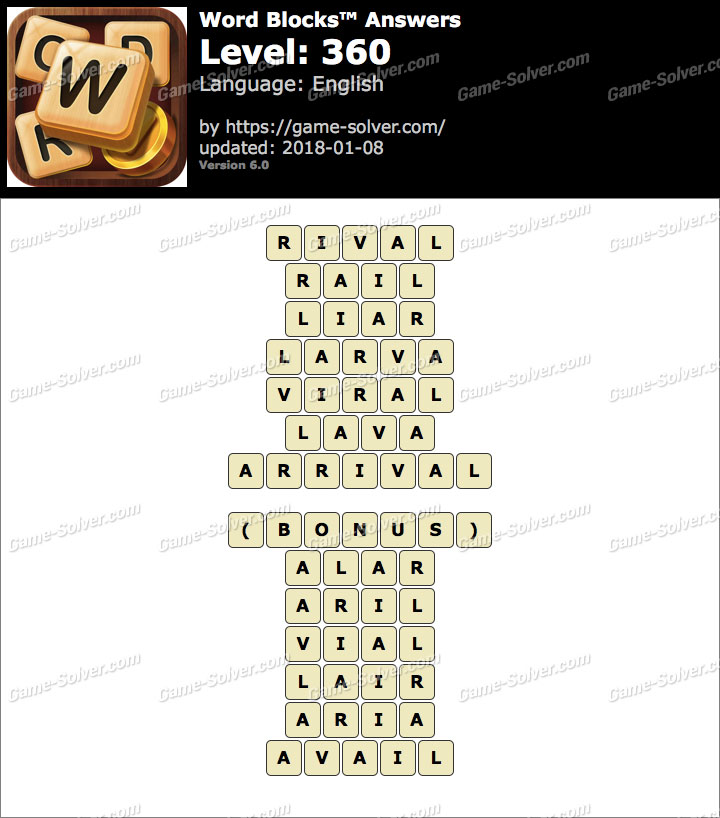 Word Blocks Level 360 Answers