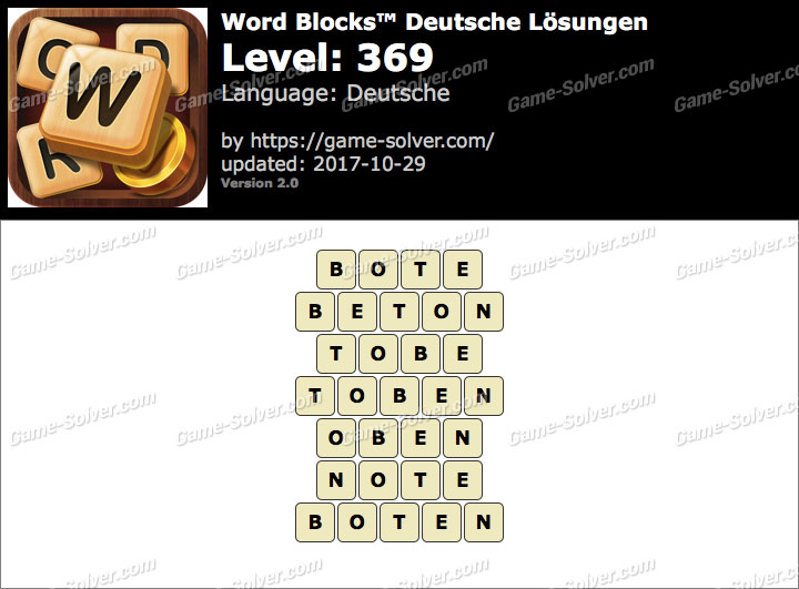 Word Blocks Level 369 Lösungen