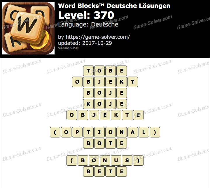 Word Blocks Level 370 Lösungen