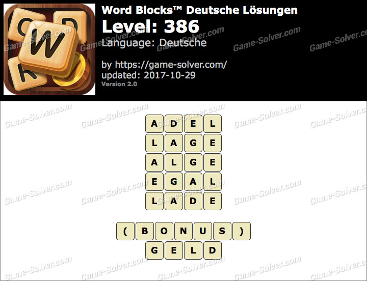 Word Blocks Level 386 Lösungen