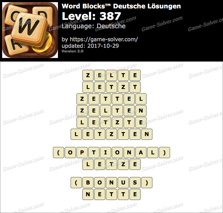 Word Blocks Level 387 Lösungen