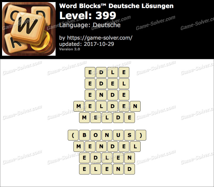 Word Blocks Level 399 Lösungen
