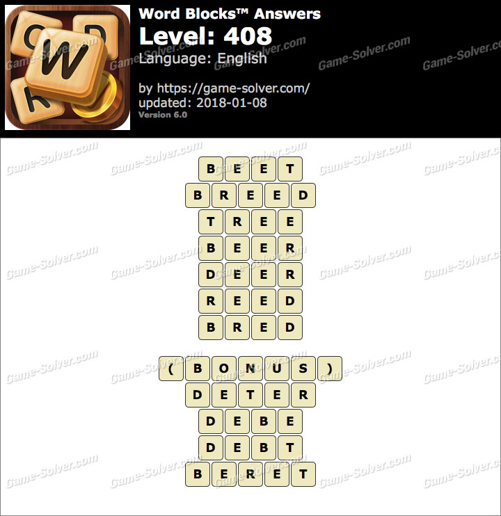 Word Blocks Level 408 Answers