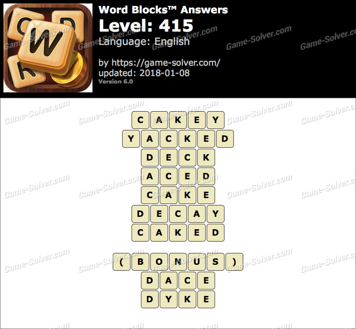 Word Blocks Level 415 Answers
