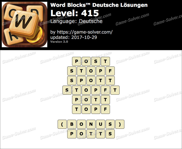 Word Blocks Level 415 Lösungen