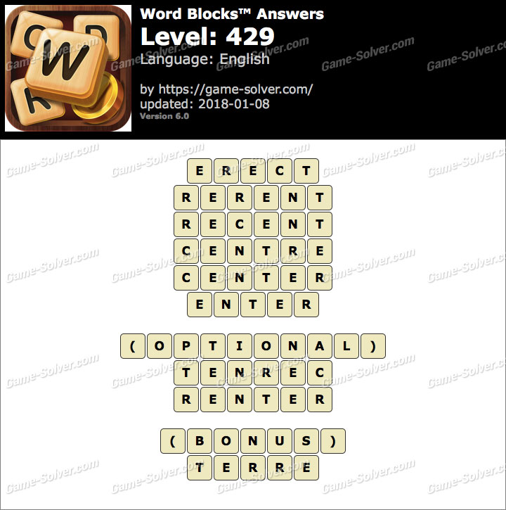 Word Blocks Level 429 Answers