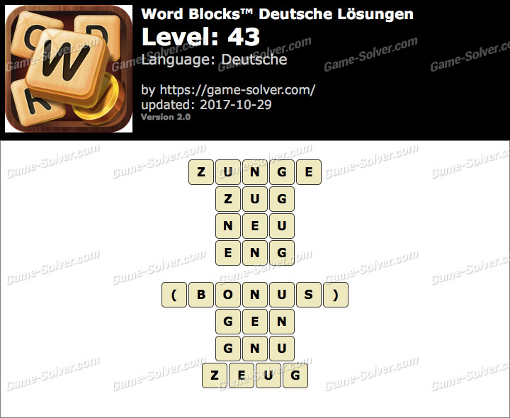 Word Blocks Level 43 Lösungen