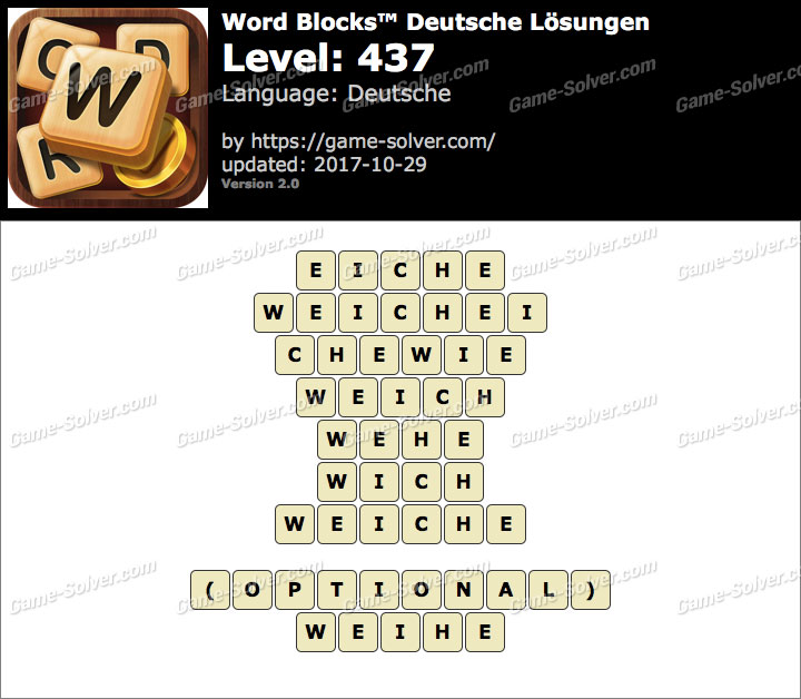 Word Blocks Level 437 Lösungen