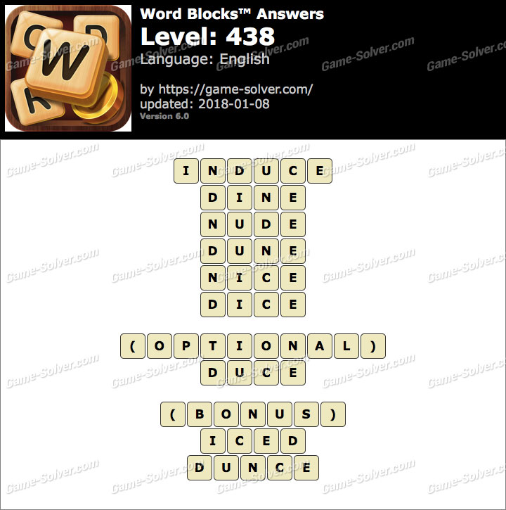 Word Blocks Level 438 Answers