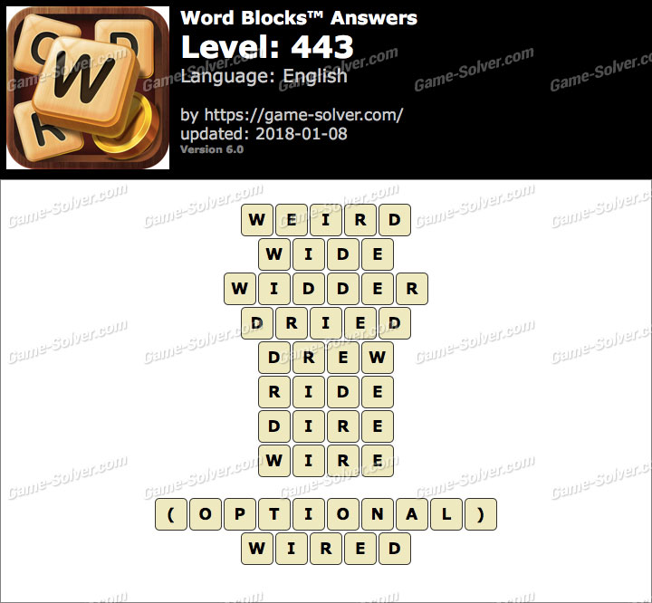 Word Blocks Level 443 Answers