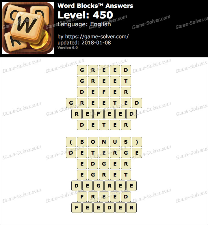 Word Blocks Level 450 Answers