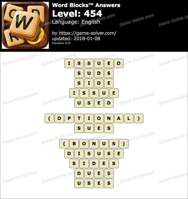 Word Blocks Level 454 Answers