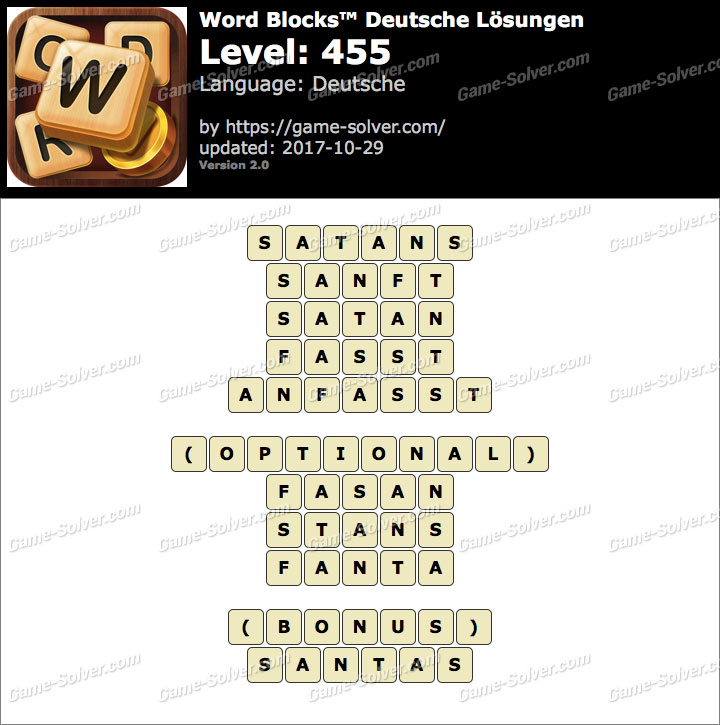 Word Blocks Level 455 Lösungen